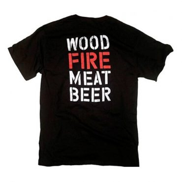 wood fire meat beer t-shirt black shirt with white and red lettering